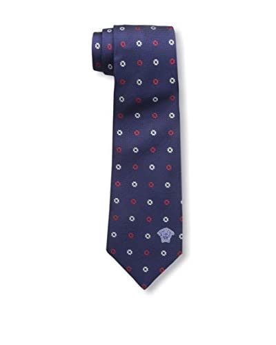 Versace Men's Patterned Silk Tie, Blue/Red/White Dot