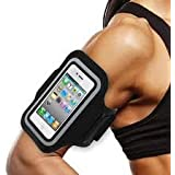 "NOuch(TM) Armband[Black] + Free Earphone with Microphone + Key Holder = Sports Armband Combo for Iphone 6 (4.7"") 5 5s 5c 4s, For Samsung Galaxy Note 3 S3 S4 S5 - Also Other Cellphones up to 5.5"" Screen - Free Earbuds with Mic [Red] Great for Running - Exercises - Gardening Lawn Care - Hands Free [Unisex] Latest Ultra Light Design - Guaranteed Satisfaction (Black/Red)"