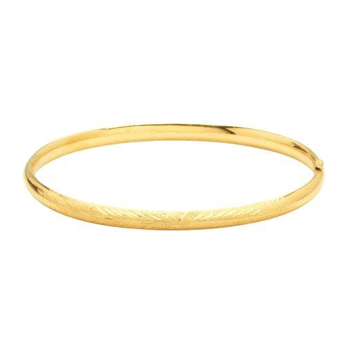 Duragold 14k Yellow Gold Diamond-Cut Gold Bangle Bracelet (4.4mm)