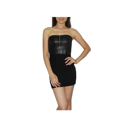 Womens Exotic Sexy Strapless Zip Front Casual / Clubwear / Night-Wear Mini Tube Dress - Size: M