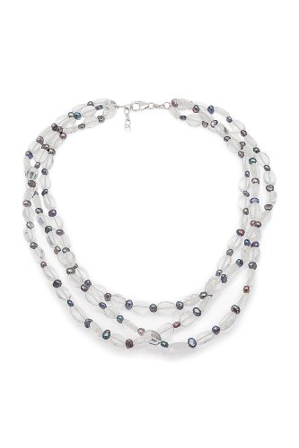 Triple-strand Multi-colored Freshwater Pearl and Clear Glass Bead Necklace