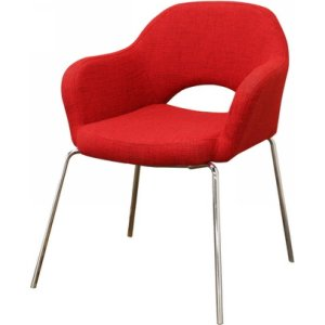 Mid Century Modern Red Twill Executive Arm Chair