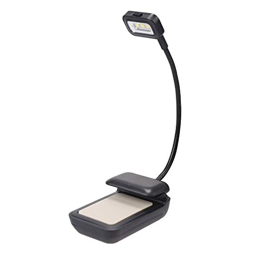 NEWSTYLE-LED-Clip-on-Reading-Light-Lamp-for-Kindle-Nook-eBook-Readers-Tablets-PDAs-Book-Textbook-2-Brightness-Mode-Flexible-Neck-Black