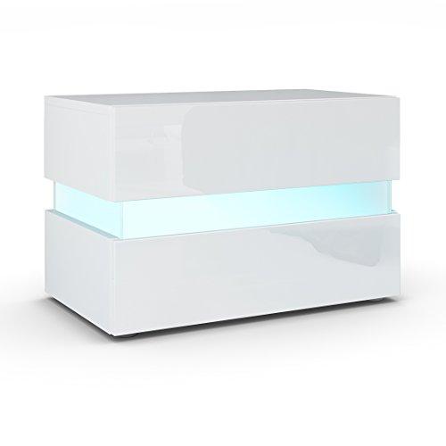 Revue table de chevet flow en blanc mat blanc laqu - Table de chevet led ...
