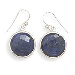 Round Faceted Rough-Cut Sapphire Earrings 925 Sterling Silver