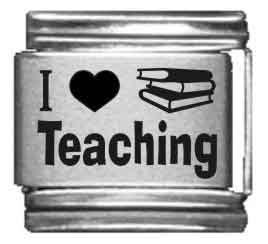 I Heart Teaching Laser Italian Charm