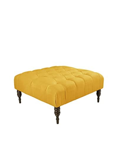 Skyline Furniture Tufted Cocktail Ottoman, Linen French Yellow