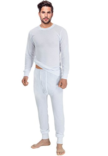 Rocky Men's Thermal 2pc Set Long John Underwear Large White (Mens Thermals White compare prices)