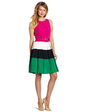 Eliza J Women's Pleated Colorblock Dress, Multi, 14