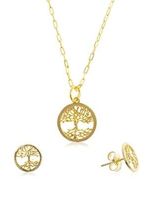 Córdoba Joyeros Conjunto de cadena, colgante y pendientes  plata de ley 925 milésimas bañada en oro