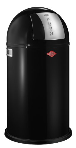 Wesco Pushboy Powder Coated Steel Waste Bin, 50 Litre, Black