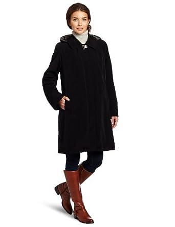 Nautica Women's Zip Out Rain Coat, Black, Small