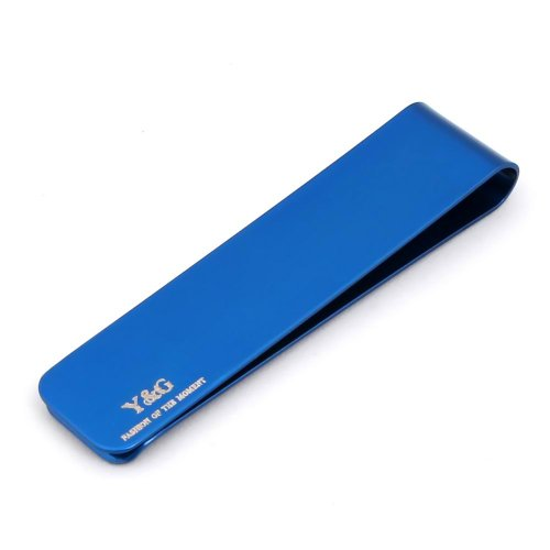 Blue rectangle silm Money Clip with Box blue card holder christmas gifts MC1026 One Size Blue