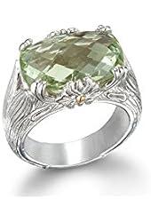Green mint quartz gemstone ring sterling silver gold 18k size , 7