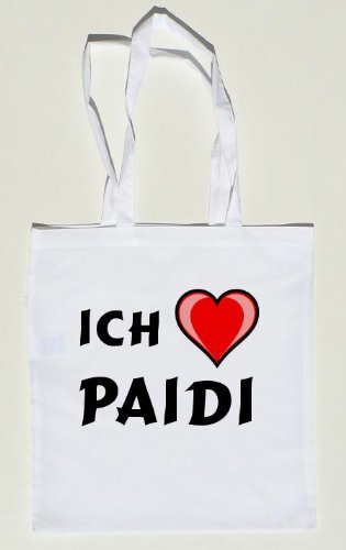 Personalisierte weiße Umhängetasche mit Namen: Paidi (Vorname/Zuname/Spitzname)