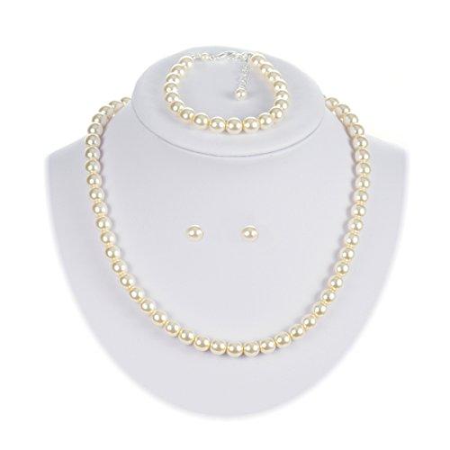 Collana di perle panna orecchini braccialetto parure di gioielli da sera per vestito nuziale sposa e casual