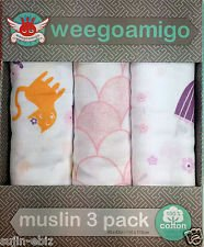 Weegoamigo Three Pack Baby Muslin Swaddle Blanket - Pink - 1