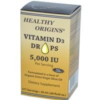 Healthy Origins, Vitamin D3 Drops, 5,000 IU, .68 fl oz (20 ml)