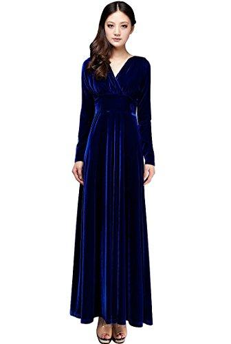 Taiycyxgan Women's V-neck Autumn Shimmer Velvet Stretchy Long Dress (M, Blue)