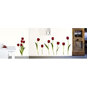 amazon com tulips for spring wall stickers temporary self adhesive vinyl temporary removable wallpaper wall