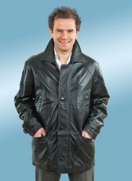 Santo Mens Leather Coat