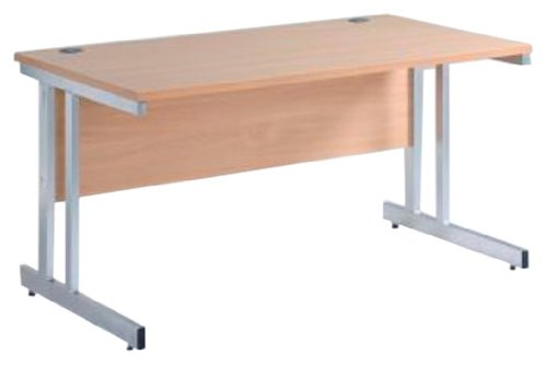 Metropolitan  - 25mm Modular Range Straight Desk with Double Upright Cantilever Frame (M1S12-B) H725xW1200xD800 - Woodland Beech