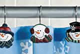 SNOWMAN Christmas winter holiday SHOWER CURTAIN HOOKS, Set of 12