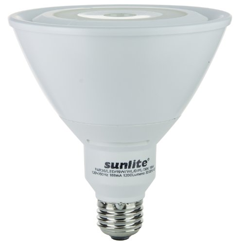 Sunlite PAR38/LED/19W/WL/D/FL/30K 120-volt Medium Base Dimmable LED PAR38 Reflector Lamp, Warm White