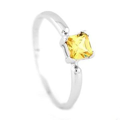 Silver Princess Cut November Yellow Citrine Birthstone Child Ring Size 4