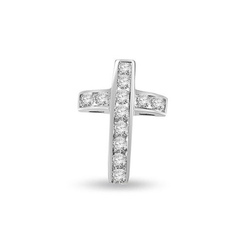 0.60ct Round Brilliant Cut Diamond Cross Pendant for Women G/VS1 in 18ct white gold with a necklace -P112