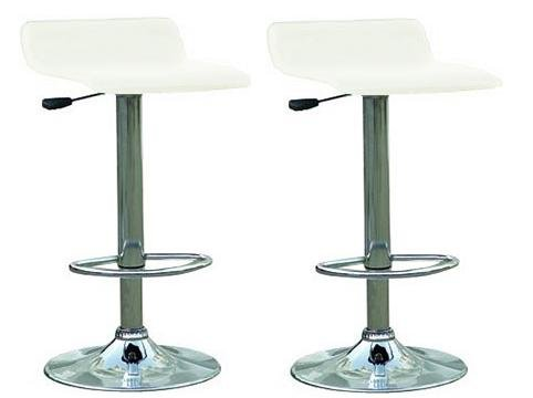 Omega Faux Leather Contemporary Bar Stoosl - White - Set Of 2 front-185111