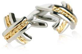 Gold-Tone Silver X Cufflinks by Cuff-Daddy