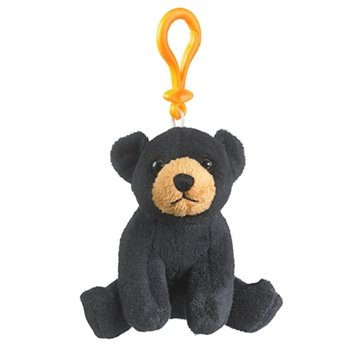 Black Bear Stuffed Animal Backpack Clip Toy Keychain WildLife - 1