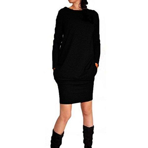 """Reasoncool Donna Nuovo casuale d'avanguardia Autunno Inverno Pacchetto Hip Dress (M -Busto: 37.00"""", Nero)"""