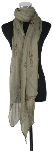 Large Green Deer Head Print, Chiffon Scarf or Sarong