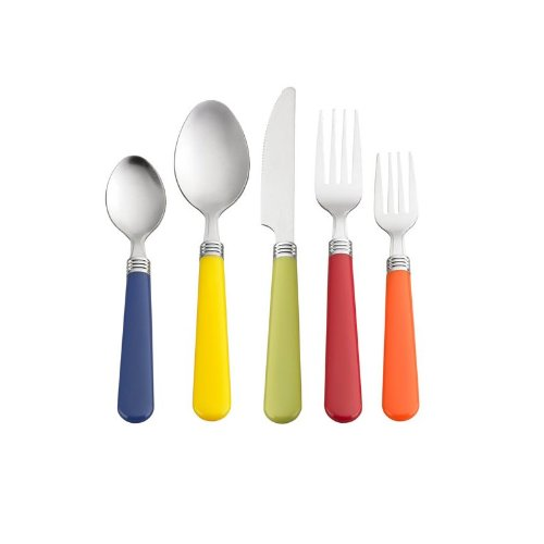 Multi color 48 piece flatware set stainless steel with plastic handles home garden kitchen - Flatware with colored handles ...