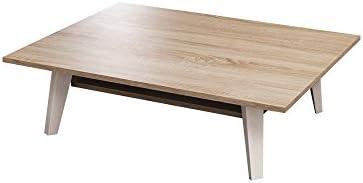 Symbiosis 2090A0300X00 Contemporains Table Basse Mélamine/Hêtre Laqué Blanc Mat/Chêne Naturel 89 x 67 x 28,2 cm