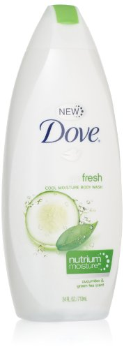 Dove Body Wash with NutriumMoisture, Cool Moisture, Cucumber and Green Tea, 24 Ounce Bottles (Pack of 4)
