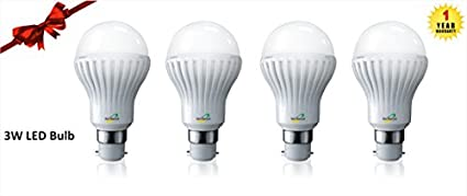 Nvis 3W B22 LED Bulb (White, Pack Of 4)
