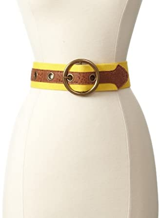 What Goes Around Comes Around Women's Canvas and Leather Belt, Yellow, Small