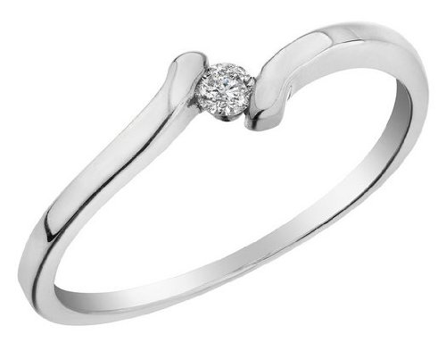 Diamond Promise Ring 1/10 Carat (ctw) in 10K White Gold