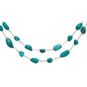 Two Strand Graduated Turquoise Nugget Sterling Silver Necklace