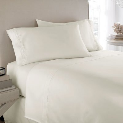 "400 Tc 4 Pc Sheet Set Twin Xl Size Solid Ivory Fits Mattress Upto 21"" Deep By Jay'S Home Goods"
