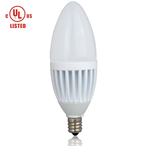 Lighting EVER® iLUX C37 3W Dimmable LED Candle Bulb, Replace 25W Incandescent Bulb, E12 Candelabra, Samsung LED Inside, Warm White, UL Listed, Chandelier, Wall Light