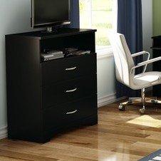 modern minimalist 3 drawer media chest bedroom w shelf