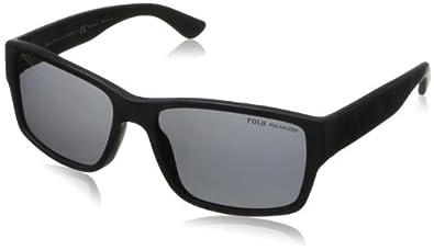 Ralph Lauren Polo Men's 4061 Matte Black Frame/Polarized Grey Lens Plastic Sunglasses