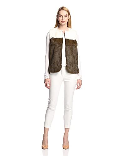 M.Patmos Women's Blocked Rabbit Fur Vest