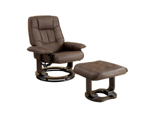 Furniture Of America Galo 2-Piece Leatherette Swivel Recliner And Ottoman Set, Brown front-1068785