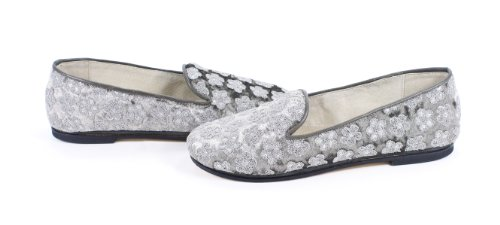 Rev French Sole Drama Light Gray Velvet Flats
