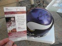 Christian Ponder signed Minnesota Vikings mini helmet JSA COA by Riddell